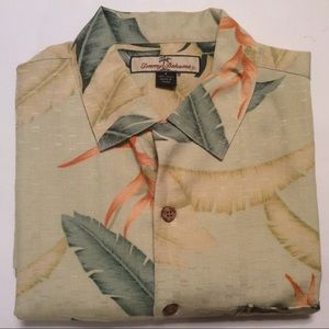 Tommy Bahama green floral silk shirt size small